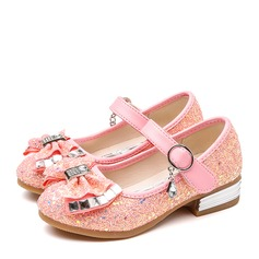 Girl's Closed Toe Leatherette Low Heel Pumps Flower Girl Shoes With Bowknot Rhinestone Sparkling Glitter Velcro
