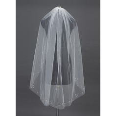 One-tier Fingertip Bridal Veils With Cut Edge/Pearl Trim Edge