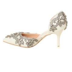 Women's Leatherette Stiletto Heel Closed Toe Pumps Sandals With Rhinestone (047095878)