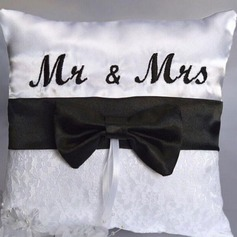 """Mr. & Mrs."" Ring Pillow in Cloth With Bow"