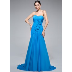 Trumpet/Mermaid Sweetheart Sweep Train Chiffon Evening Dress With Ruffle Beading Flower(s)