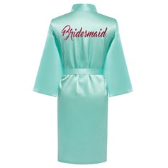 Personalized Bride Bridesmaid charmeuse With Knee-Length Floral Robes (248155113)