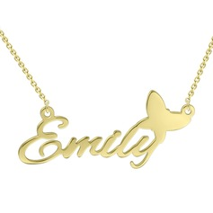 Custom 18k Gold Plated Silver Name Necklace With Butterfly - Birthday Gifts Mother's Day Gifts