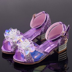 Girl's Peep Toe Leatherette Low Heel Sandals Flower Girl Shoes With Buckle Flower Crystal