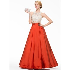 Ball-Gown Scoop Neck Floor-Length Taffeta Prom Dress With Beading Appliques Lace Sequins