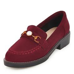 Donna Camoscio Senza tacco Ballerine con Perla imitazione scarpe