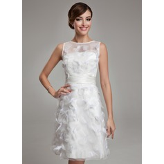 Sheath/Column Scoop Neck Knee-Length Satin Organza Wedding Dress With Feather (265193156)