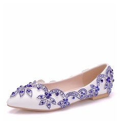 Kvinner Lær Flat Hæl Lukket Tå Flate sko med Crystal