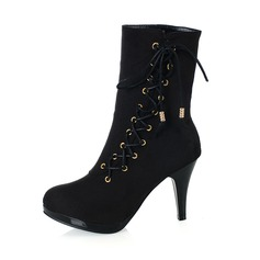 Women's Leatherette Chunky Heel Boots Ankle Boots Mid-Calf Boots With Ribbon Tie shoes