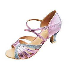 Women's Satin Heels Sandals Pumps Latin With Ankle Strap Hollow-out Sequin Dance Shoes