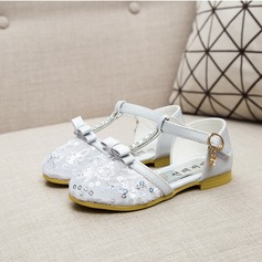 Girl's Leatherette Flat Heel Closed Toe Flats With Bowknot Rhinestone Velcro