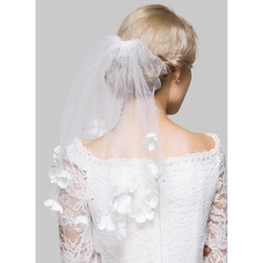One-tier Cut Edge Shoulder Veils With Rhinestones/Satin Flower