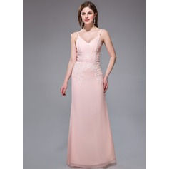 Sheath/Column V-neck Floor-Length Chiffon Evening Dress With Lace Beading Sequins