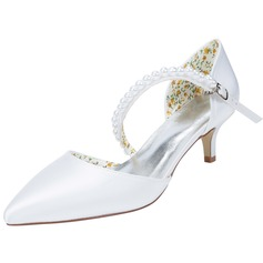 Women's Satin Low Heel Pumps With Beading