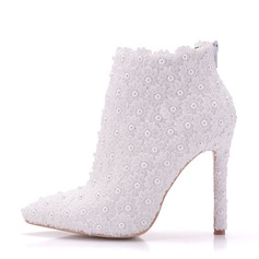 Women's Leatherette Stiletto Heel Boots Pumps With Imitation Pearl
