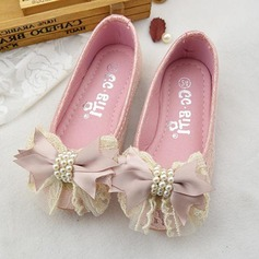 Girl's Round Toe Microfiber Leather Flat Heel Flats Flower Girl Shoes With Bowknot Imitation Pearl