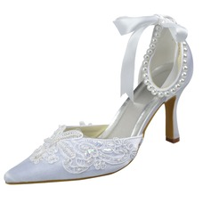 Women's Satin Stiletto Heel Closed Toe Pumps With Imitation Pearl Ribbon Tie Sequin Stitching Lace