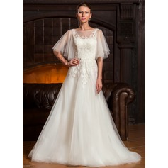A-Line/Princess Scoop Neck Sweep Train Tulle Wedding Dress With Bow(s) Cascading Ruffles