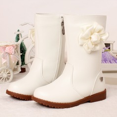 Girl's Microfiber Leather Flat Heel Round Toe Boots With Zipper