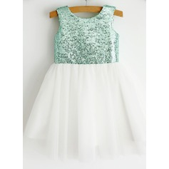 Ball Gown Knee-length Flower Girl Dress - Tulle Sleeveless Scoop Neck With Sequins
