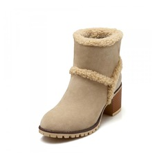 Women's Suede Low Heel Platform Closed Toe Ankle Boots shoes