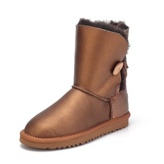 Women's Real Leather Flat Heel Boots Snow Boots With Button shoes