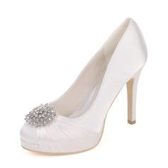 Women's Silk Like Satin Stiletto Heel Platform Pumps With Rhinestone Ruched