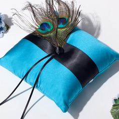 Square Ring Pillow in Satin With Ribbons/Rhinestones/Feather
