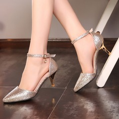Women's Sparkling Glitter Stiletto Heel Pumps With Crystal Buckle shoes (087115179)