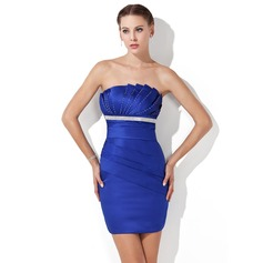Sheath/Column Scalloped Neck Short/Mini Charmeuse Cocktail Dress With Ruffle Beading