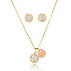Circle Pendant Necklace Initial Necklace With Cubic Zirconia (Set of 2) - Birthday Gifts