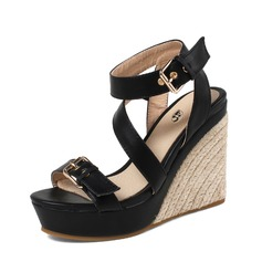 Women's PU Wedge Heel Sandals Pumps Platform Wedges Peep Toe Slingbacks With Buckle shoes