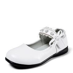 Mädchens Geschlossene Zehe Ballerinas Leder Flache Ferse Flache Schuhe Blumenmädchen Schuhe mit Perlstickerei Bowknot Klettverschluss