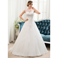 Ball-Gown/Princess Scoop Neck Sweep Train Organza Tulle Wedding Dress With Beading Sequins