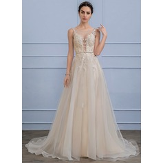 A-Line/Princess Scoop Neck Sweep Train Tulle Lace Wedding Dress With Beading Sequins (002107834)