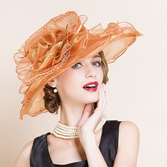 Ladies' Fashion/Glamourous/Exquisite Organza With Flower Floppy Hat/Kentucky Derby Hats