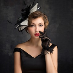 Signore Elegante Piuma/Tyll/Biancheria con Piuma Fascinators/Kentucky Derby Hats/Cappelli da Tea Party