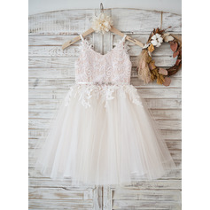 A-Line/Princess Knee-length Flower Girl Dress - Tulle/Lace Sleeveless Straps With Rhinestone (010131729)