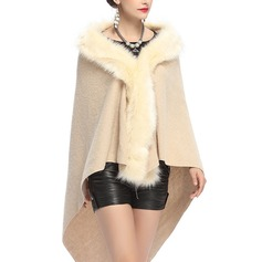 Solid Color Cold weather Artificial Wool Poncho (204189016)