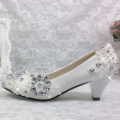 Women's Patent Leather Cone Heel Closed Toe Pumps With Rhinestone Stitching Lace Flower