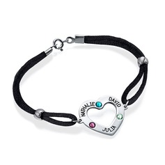 Personalized Ladies' 925 Sterling Silver Round Birthstone Engraved Bracelets Bracelets For Friends/For Couple