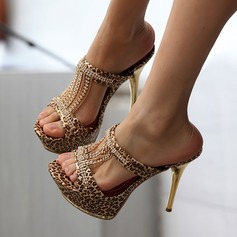 Women's Leatherette Stiletto Heel Sandals With Animal Print Tassel shoes (087115580)