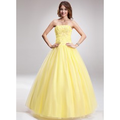Ball-Gown Strapless Floor-Length Tulle Quinceanera Dress With Ruffle Beading Appliques Lace (021016887)