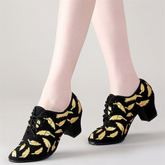 Women's Cloth Heels Latin Belly Practice With Lace-up Dance Shoes
