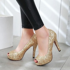 Women's Sparkling Glitter Stiletto Heel Pumps Peep Toe With Sparkling Glitter shoes (085112141)