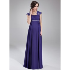Empire Square Neckline Floor-Length Chiffon Maternity Bridesmaid Dress With Ruffle Lace Beading