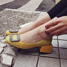 Women's Suede Chunky Heel Flats Closed Toe With Rhinestone shoes