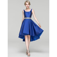 A-Line/Princess Square Neckline Asymmetrical Satin Cocktail Dress With Beading