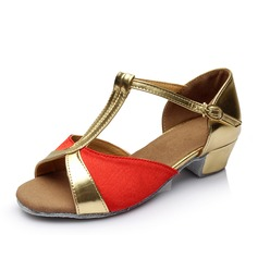 Women's Satin Leatherette Sandals Latin With T-Strap Buckle Hollow-out Dance Shoes