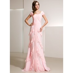 A-Line/Princess Scoop Neck Sweep Train Chiffon Evening Dress With Cascading Ruffles